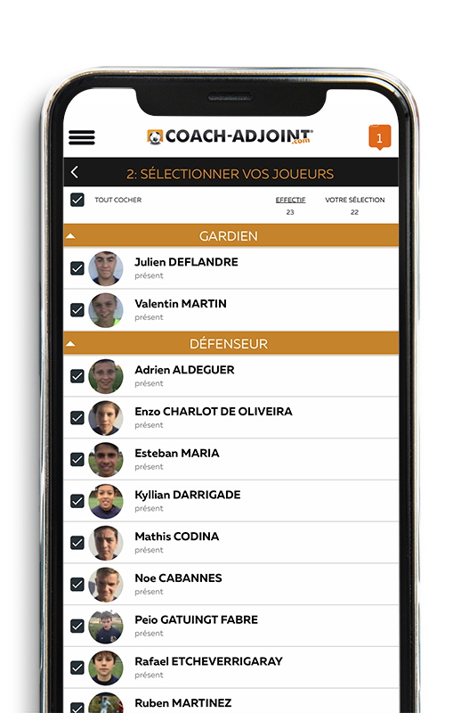 ecran joueur application coach adjoint