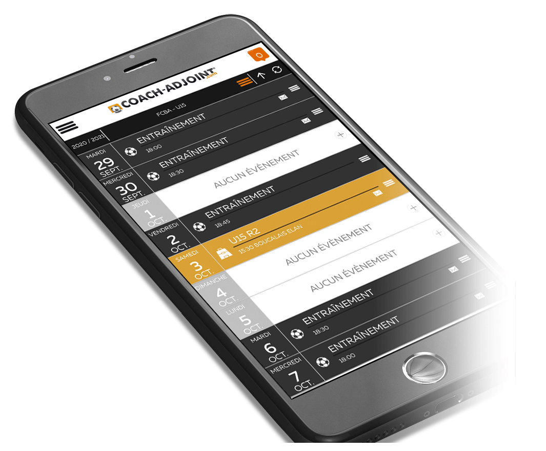 ecran smartphone application coach adjoint